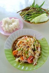 Thai papaya salad with sticky rice