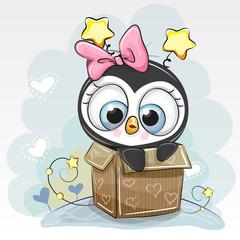 Birthday card with a Cute Cartoon Penguin girl