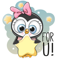 Cute Cartoon Penguin girl with star