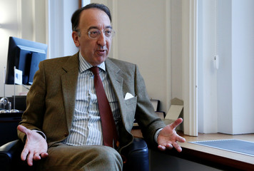 EDA Chief Executive Domecq speaks during an interview with Reuters in Brussels