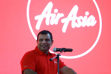 AirAsia Group CEO Fernandes speaks during a news conference at AirAsia headquarters in Sepang
