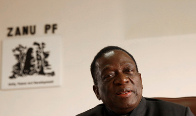 Zimbabwe's President Mnangagwa looks on as he chairs ZANU PF's Politburo meeting in Harare