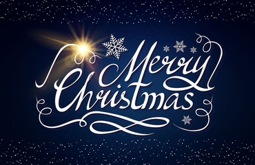 Merry Christmas Calligraphic Lettering with Elegant Gold Effects on Blue Background. Vintage Shining Design. Vector illustraion