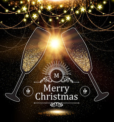 Christmas Design Template with Champagne Glasses, Gold Effects, Stars and Flash light. Vector illustration