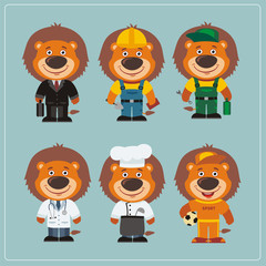 Set of lion in different costumes: builder, sportsman, worker, a doctor, manager, cook. Collection of lion in clothes in cartoon style.
