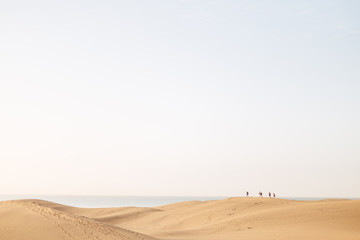 A panoramic view over sand dunes with a group of people walking in the sand