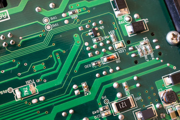 Green PCB close up.