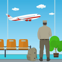 Man in Uniform is Looking out the Window on a Flying Airplane, Waiting Room at the Airport, Travel and Tourism Concept, Passenger Transportation , Vector Illustration