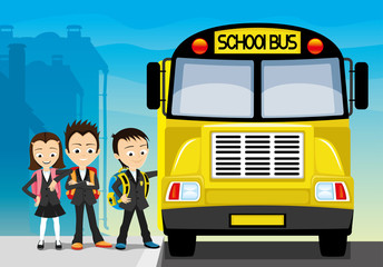 School bus and school children.