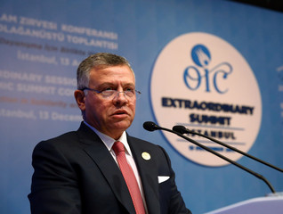 Jordan's King Abdullah speaks during an extraordinary meeting of the OIC in Istanbul