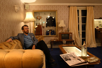 Bjorn Ulvaeus of ABBA sits in a replica of the Napoleon Suite at the Brighton Grand Hotel where ABBA celebrated winning the 1974 Eurovision song contest as part of the  opening of 'ABBA: Super Troopers' exhibition at the Southbank Centre in London
