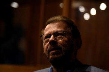 Bjorn Ulvaeus of ABBA looks on in an exhibit of a replica of the Polar Studios as part of the opening of 'ABBA: Super Troopers' exhibition at the Southbank Centre in London