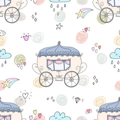 Seamless pattern with fairy tale carriage vector illustration