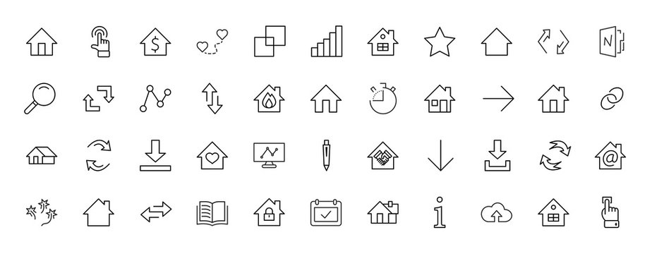 Set of house vector line icons. Contains symbols of the conclusion of the contract, heart, a drop of water, fire, money and many other things. Editable move. 32x32 pixels.