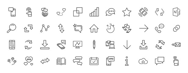 Set of Message Vector Line Icons. Contains such Icons as Conversation, SMS, Heart, Love Chats, Notification, Group Chat and more. Editable Stroke. 32x32 Pixel Perfect.