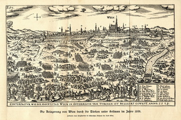 Siege of Vienna in 1529 by the Ottoman Empire (from Spamers Illustrierte Weltgeschichte, 1894, 5[1], 296/297)