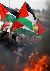 Palestinian lawyers take part in a protest near the Jewish settlement of Beit El, near the West Bank city of Ramallah
