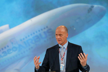 Airbus Chief Executive Tom Enders attends a ceremony during the delivery of the new Airbus A380 aircraft to Singapore Airlines at the French headquarters of aircraft company Airbus in Colomiers