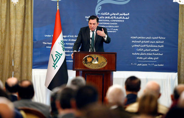 The British Ambassador to Iraq, John Wilkes speaks during the third annual international conference on countering Islamic State propaganda in Baghdad