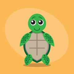 Turtle cartoon flat card