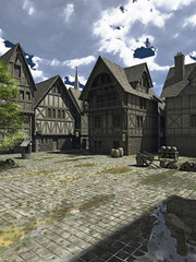 Fototapete - Illustration of a town square in the centre of a Medieval or fantasy style European town with church spire in the distance, 3d digitally rendered illustration