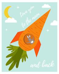 Funny rabbit in love in a carrot rocket.