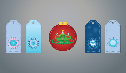 Vector gift tags with cute snowflakes and a Christmas tree on a grey background