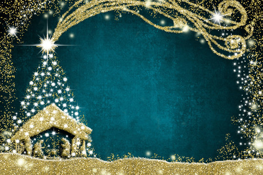 Christmas Nativity Scene and tree greetings cards