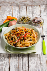pasta with capers anchovies zucchinis and capsicum