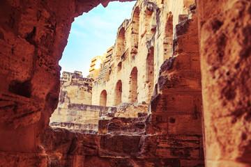 The ruins of the amphitheater in El Jeme, Tunisia.
