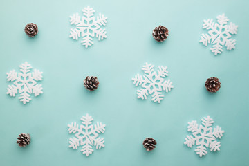 Merry Christmas and Happy New Year. Pattern foam cutter snowflake and dried pine on pastel color