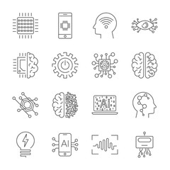 Simple Set of Artificial Intelligence Related Vector Line Icons.