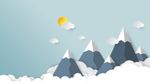 Clouds,mountains and sky background.Paper art style vector illustration.