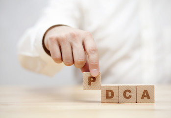 Hand and word PDCA (Plan, Do, Check, Act) made with wooden building blocks