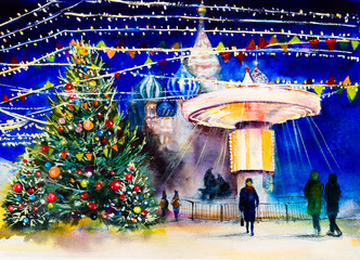 Moscow, Red Square, St. Basil's Cathedral, carousel, Christmas tree, at the Christmas Fair. Watercolor drawing. Watercolor painting.