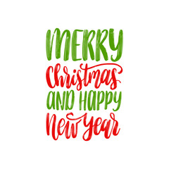 Merry Christmas and Happy New Year lettering.Vector festive calligraphic illustration. Happy Holidays greeting card etc.