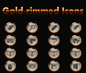 design gold-rimmed icons for your creative ideas