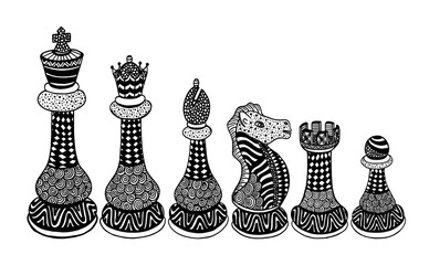 Vector Set of Sketch Chess Figures - King, Queen, Bishop, Knight, Rook, Pawn.