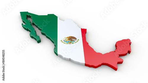 Mexiko Karte Umriss.Mexiko 3d Umriss Oder Karte Mit Flagge Stockfotos Und