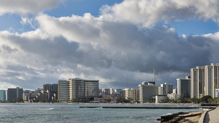 Honolulu, Oahu Island, Hawaii: stunning views of Waikiki beachfront lined with hotels and holiday accommodation, exquisite restaurants and shops