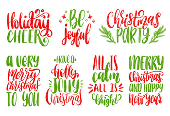 Set of New Year hand lettering on white background. Vector Christmas calligraphic illustrations.