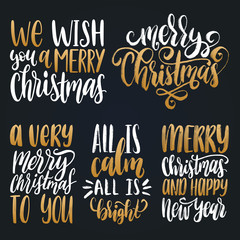 Vector Christmas calligraphic illustrations. Set of New Year hand lettering on black background.