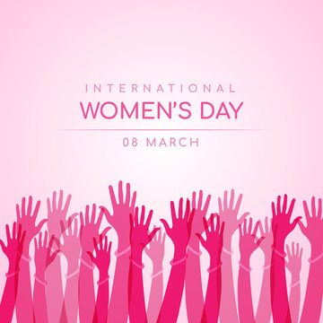 international women day with abstract pink Hands up woman wear wristband sign vector design