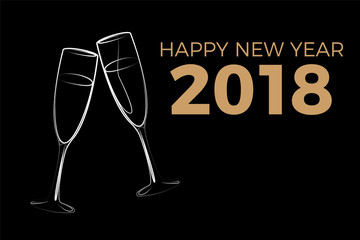 Happy New Year 2018 - Champagner