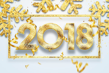 2018 Happy new year. Gold Numbers Design of greeting card of. Gold Shining Pattern. Happy New Year Banner with 2018 Numbers on Bright Background.