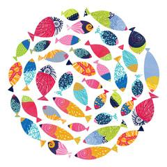 Postcard with decorative fish. Around motif.