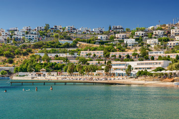 Sunny view of Ortakent near Bodrum, Mugla, Turkey.