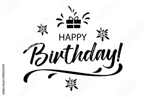 Happy Birthday card. Beautiful greeting banner banner lettering ...