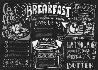 Breakfast menu design template. Modern lettering with sketch icons of food on chalkboard background. Restaurant, cafe identity template.