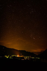 star view and light pollution over a small town